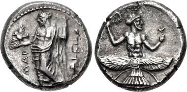 Mallos. Tiribazus, Persian satrap of Lydia. Stater, 384-383. Rv. Ahura Mazda. From CNG auction sale, Triton XVIII (2015), 51.