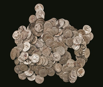 Silver coins from the Beau Street hoard, 3rd century AD. © The Trustees of the British Museum.