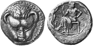 Rhegion (Bruttium). Drachm, 460-450. Frontal lion's head. Iocastes with bare chest sitting l. Ex Künker Auction 71 (2002), 65.
