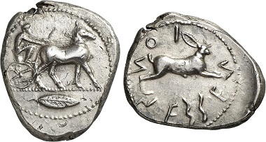 Rhegion (Bruttium). Tetradrachm, 480-461. Mule-drawn biga r. Rv. hare r. Ex Gorny & Mosch Auction 224 (2014), 62.