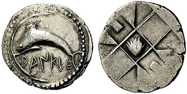 Dankle. Drachm, around 510. Dolphin l., swimming into the sickle-shaped port of Dankle. Rv. quadratum incusum. Ex Münzen und Medaillen GmbH Auction 36 (2012) 92.