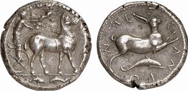 Messana. Tetradrachm, 420-413. Mule-drawn biga, driven by the nymph Messana; Nike crowning the animals. Ex Künker Auction 136 (2008), 463.
