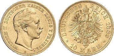 Preussen Wilhelm II. 10 Mark.