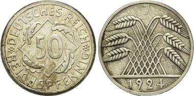 Weimarer Republik. 50 Reichspfennig.