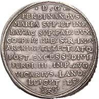 BAYERN. Ferdinand Maria, 1651-1679. Reichstaler 1647, München auf sein Vikariat. Dav. 6097. Hahn 180. Aus der kommenden Auktion Künker 184 (2011), 4081. Schätzung: 2.500 Euro.