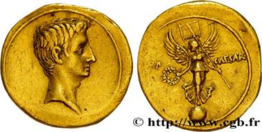 Lot 51: Octavian. Aureus 30-29 BC. VF. Estimate: 10,000 euros.
