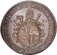 AUGSBURG. Johann Christoph von Freiberg, 1665-1690. Reichstaler 1681, Augsburg. Dav. 5009. Forster 397. From the upcoming auction Künker 184 (2011), 4016. Estimate: 5,000 Euros. - Johann Christoph von Freiberg, too, went to the Jesuit College in Ingolstadt.