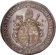 AUGSBURG. Johann Christoph von Freiberg, 1665-1690. Reichstaler 1681, Augsburg. Dav. 5009. Forster 397. Aus der kommenden Auktion Künker 184 (2011), 4016. Schätzung: 5.000 Euro. - Auch Johann Christoph von Freiberg hatte in Ingolstadt das Jesuitenkollegium besucht.