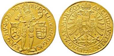 Los 56: Rudolf II. 1576-1612. 5 Dukaten 1603 Unpubliziertes Unikat! Prachtexemplar. Vzgl. Schätzpreis: 75.000 Euro.