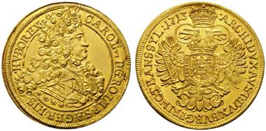 Los 72: Karl VI. 1711-1740. 5 Dukaten 1713 Siebenbürgen. Äußerst selten. Vzgl. Schätzpreis: 50.000 Euro.
