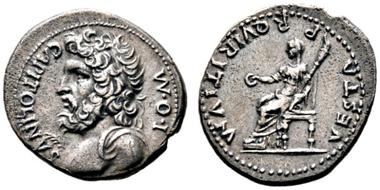 Los 1547: Bürgerkrieg 68-69. Denarius 69 n. Chr. R. F.vzgl./s.sch.-vzgl. Schätzpreis: 1.800 Euro.