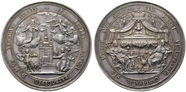 Los 1955: Wolfgang v. Schrattenbach 1711-1738. Medaille 1731 (Chronogramm) zu Ehren des Hl. Nepomuk. RR. Vzgl.+. Schätzpreis: 1.500 Euro.