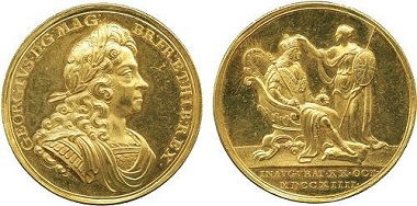 Lot 2334: George I (1714-1727), Coronation Gold Medal by John Croker. Extremely fine, cameo prooflike, rare. Estimate: £2,500-3,000.