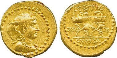 Lot 6: Ancient Rome - L Cestius and C Norbanus (43 BC), Gold Aureus. Well-struck and of good style, about extremely fine, a rare variety. Estimate: £8,000-10,000.