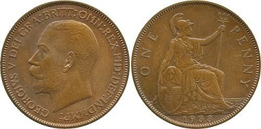 Lot 1070: Great Britain, George V Copper Pattern Penny, 1933, by Andre Lavrillier. Extremely rare, one of only four known. Estimate: £35,000-45,000.
