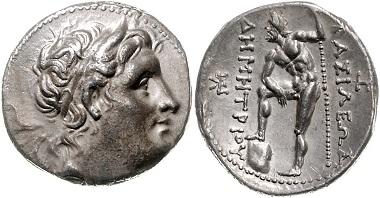 Los 38: GRIECHENLAND / MAKEDONIEN. Demetrios Poliorketes (294-288 v.Chr.), Tetradrachme (290-280 v.Chr.). Newell 90 vgl., vz, Rs. prägefrisch. Schätzpreis: 1.700,- Euro.