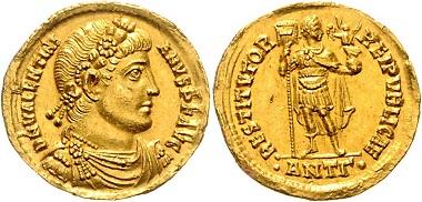 Los 383: RÖMISCHES REICH. Valentinian I. (364-378), Solidus (ab 364), ANTG =Antiochia. 4,45g. RIC 2a, Kampm.155.5, GOLD, Prachtex., vz+. Schätzpreis: 1.500,- Euro.