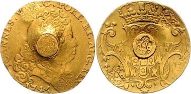 Los 857: MARTINIQUE. Britische Besetzung (1793-1801), 4 Escudos 1745. Mit 2 Gegenstempeln gekröntes 'AR'. Gegenstempel gekröntes 'AR' auf mittig eingesetztem Goldstift (Plug). Mr. Ruffy, Goldschmied in St. Pierre. 11,61g. Vgl. KM 27.1, Pridmore S.245, GOLD, selten, ss (Ggst. ss-vz). Schätzpreis: 12.500,- Euro.