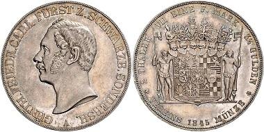 Los 1986: SCHWARZBURG-SONDERSHAUSEN. Günther Friedrich Carl II. (1835-1880), Doppeltaler 1845. AKS 37, T.399, Dav.920, st fein. Schätzpreis: 1.300,- Euro.