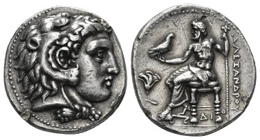 Lot 80: The Ptolemies, Ptolemy I Soter as Satrap, Memphis Tetradrachm circa 325. Price 3971. Rare. Lovely old cabinet tone and of the finest style. Two small metal flaws, otherwise, Good Very Fine. Starting Bid: £ 400.