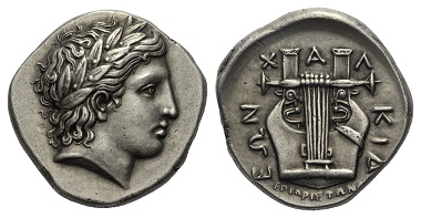 Lot 53: CHALCIDIAN LEAGUE. Olynthus. (Mid-4th century BC). Tetradrachm.