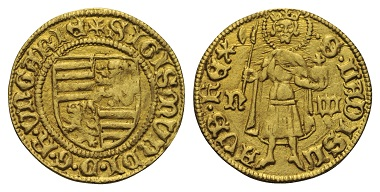 Lot 535: HUNGARY. Sigismund (1387-1437). Gold gulden. Nagybanya.