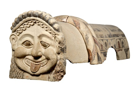 Terracotta roof ornament with head of a gorgon, Gela, Sicily, c.500 BC. Museo Archeologico Regionale Di Agrigento. © Regione Siciliana.