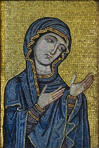 Byzantine-style mosaic showing the Virgin as Advocate for the Human Race. Kept at Museo Diocesano di Palermo, originally from Palermo Cathedral, c.1130-1180 AD. Museo Diocesano di Palermo.