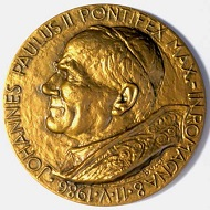 Prägemedaille 1986 auf den Besuch von Papst Johannes Paul II. in Ravenna.