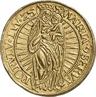 112 ducats, 1525. Walter (Wolter) of Plettenberg, Master of the Teutonic Order in Livonia (1494-1535), gold, 41.96 g, 39 mm, 5 h. Berlin Coin Cabinet, object number 18201940.