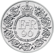 The celebratory garland designed by Christopher Hobbs features on all the commemorative coins in honour of Her Majesty The Queen's 90th birthday like this GBP 20 silver coin. © The Royal Mint.
