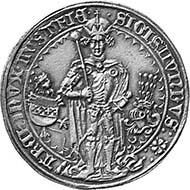 Archduke Sigismund Rich in Coin, 1477-1496. Guldiner 1486, Hall. From auction Münzen und Medaillen AG 91 (2001), 795.