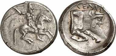 Struck in slightly later times, the rider on this didrachm reflects the ideal image of the aristocrats of Gela, most of all the tyrants. Gela, didrachm, ca. 497/485-480/475 BC. Ex Gorny & Mosch Auction 169 (2008), 16.