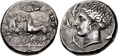 Lot 155: Sicily, Syracuse. Dionysios I. 405-367 BC. Tetradrachm. Tudeer 104 (dies 35/71). Near EF, attractive cabinet tone, reverse a touch off center. Estimate $5,000.