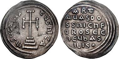 Lot 1174: Byzantine Empire, Constantinople. Artavasdus, with Nicephorus, 741/2-743. Miliaresion. DOC 6; SB 1545. VF, toned, light scratches. Very rare. Estimate $2000.