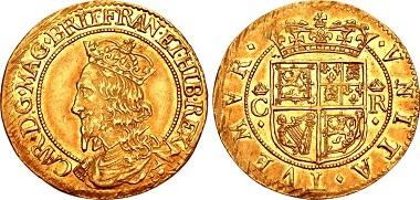 Lot 1553: Scotland, Charles I. Struck 1637-1642. Half Unit - Double Crown. SCBC 5534. Near EF, lightly toned, minor adjustment marks. Rare. Estimate $5,000.