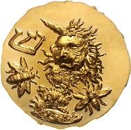 Lot 530: Österreich, Zyklus 1976: Altes Testament, 12 Goldmedaillen. Medaille Nr. 5: Samson/ Shin, Löwenkopf, Bienen, von Ernst Fuchs. Topzustand drei Stück mit leichter Patina. Prägefrisch. Rufpreis: EUR 24.000,-