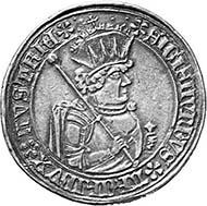 Archduke Sigismund Rich in Coin, 1477-1496. Dickguldiner of the half guldiner die 1484, Hall. From auction Münzen und Medaillen AG 91 (2001), 794.