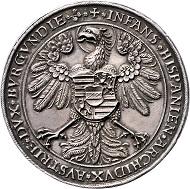 Lot 31: HRR, Ferdinand I, Doppelter Schautaler 1541, Kremnitz. MzA 24. Markl 2043. Feinste Tönung, eines der schönsten Exemplare im Handel. II Prov. Slg. Hartmann, ex Spink London Oktober 1953. Rufpreis: EUR 3.000,-