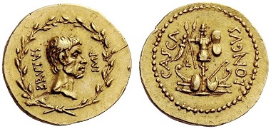 Lot 430: Brutus aureus. 43-42 BC. From the collection of Sheikh Saoud Al Thani. Estimate CHF 450,000.