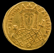 Irene, Empress of the Byzantine Empire. Solidus, Constantinople, 797-802. Photo: Jaclyn Nash, courtesy of the National Museum of American History.