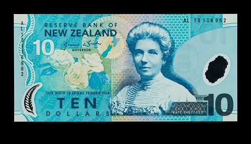 Kate Sheppard, Suffragette. Ten dollar note, New Zealand, 2013. Photo: Jaclyn Nash, courtesy of the National Museum of American History.