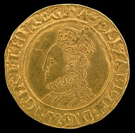 Elizabeth I, Queen of England. Half pound coin, England, about 1567-70. Photo: Jaclyn Nash, courtesy of the National Museum of American History.