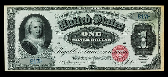 Martha Washington, First Lady of the United States of America. 1 dollar silver certificate, United States of America, 1886. Photo: Jaclyn Nash, courtesy of the National Museum of American History.