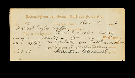 Check signed by Susan B. Anthony, National American Woman Suffrage Association, 1896. Photo: Jaclyn Nash, courtesy of the National Museum of American History.