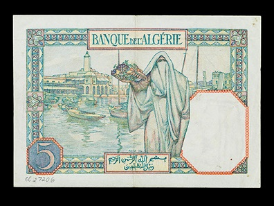 5 franc note, Algeria (under French rule), about 1941. Photo: Jaclyn Nash, courtesy of the National Museum of American History.