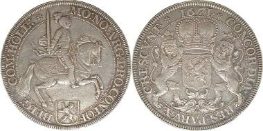 1671 Holland Ontwerp dukaton of zilveren rijder 1671 Vz. 3.500 Euro.