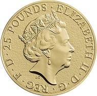 The Lion Quarter-Ounce Fine Gold Bullion Coin: Great Britain / GBP 25 / 999.9 gold / 7.80g / 22.00mm / Design: Jody Clark.