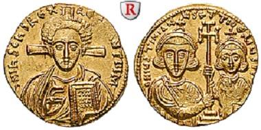Iustinian II. und Tiberius. Solidus 705-711. Vorzüglich bis Stempelglanz. 3.800 Euro.