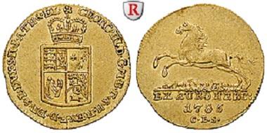Braunschweig-Calenberg-Hannover. Georg III. Dukat 1785, Harzgold, Zellerfeld. Fast vorzüglich. 3.650 Euro.